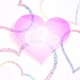 Vector предпосылка weddign и валентинок с стекловидными и стильными сердцами Красочный элемент дизайна влюбленности и заботы Стоковое Фото