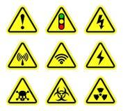 Vector предупреждение, символ сигнала и знак радиации Стоковые Изображения RF