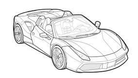 Vector притяжка плоской спортивной машины с черными линиями стоковое фото rf