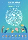 Vector программное обеспечение для предприятий людей соединяясь и социальная сеть средств массовой информации Стоковое фото RF