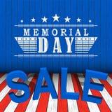 Vector продажа Дня памяти погибших в войнах с звездами и литерность на предпосылке сини, красных и белых деревянной Шаблон на Ден Стоковая Фотография RF