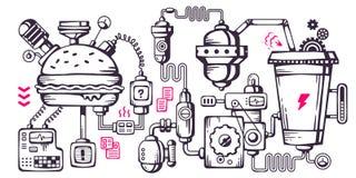 Vector промышленная предпосылка иллюстрации работая mecha Стоковые Изображения