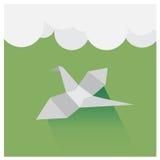 Vector птицы origami летая небо, красивый зеленый цвет и wh Стоковая Фотография