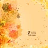 Vector плакат шаблона с краской акварели и флористической абстрактной предпосылкой бесплатная иллюстрация