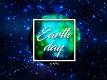 Vector планета глобуса мира с текстом дня земли в рамке белого квадрата с световым эффектом искр на голубых звёздных небе или кос Стоковые Фотографии RF