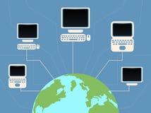 Vector плоская земля планеты иллюстрации и соединенные компьютеры бесплатная иллюстрация