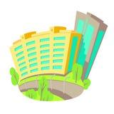 Vector плоская иллюстрация зданий в городе Новая современная конструкция высотного здания Яркие изолированные дома в шарже Стоковые Фото