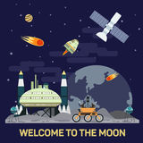 Vector плоская иллюстрация колонии луны с кометами, метеорами, кратерами, спутниками, основаниями, вездеходом, челноками в космос Стоковое Фото