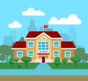 Vector плоская иллюстрация школьного здания, для плаката, знамени, etc Стоковая Фотография
