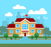 Vector плоская иллюстрация школьного здания, для плаката, знамени, etc Стоковое Изображение