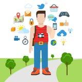 Vector плоский туризм перемещения и социальный коллаж интернета средств массовой информации Стоковое Изображение