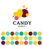 Vector плоский шоколадный батончик и сладостный дизайн логотипа магазина Стоковые Фотографии RF