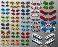 Vector равновеликая иллюстрация комплекта автодорожного транспорта Спереди и сзади взгляд Стоковые Изображения