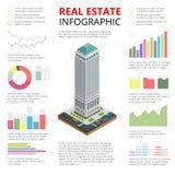 Vector равновеликая иллюстрация infographic недвижимости сделанного зданий иллюстрация штока