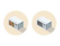 Vector равновеликая иллюстрация микроволновой печи, плоского оборудования кухни 3d Стоковые Изображения RF