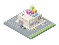 Vector равновеликая иллюстрация мола с подарочными коробками на крыше Стоковые Фото