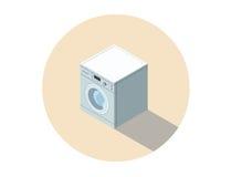Vector равновеликая иллюстрация стиральной машины, моя оборудование одежд Стоковые Изображения