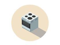 Vector равновеликая иллюстрация электрической плиты, плиты, плоской кухни дизайна 3d Стоковое Изображение