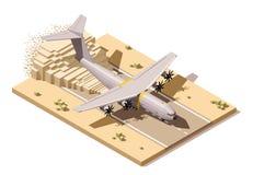 Vector равновеликая низкая поли взлётно-посадочная полоса пустыни с гуманитарием иллюстрация вектора