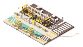 Vector равновеликая низкая поли шина на полосе для движения автобусов бесплатная иллюстрация