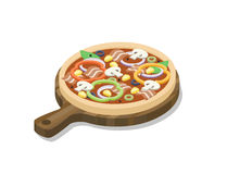 Vector равновеликая пицца с ветчиной, грибами, паприкой, оливкой, мозолью, луком Стоковые Изображения RF