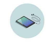 Vector равновеликая черная таблетка с наушниками, плоский прибор дизайна 3d Стоковая Фотография RF
