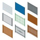 Vector равновеликий значок или infographic различные дизайны загородок и стробов на белой предпосылке Каменная загородка бесплатная иллюстрация