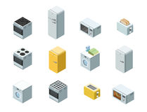 Vector равновеликий комплект значка бытовых приборов, плоского дизайна интерьера 3d Стоковые Изображения