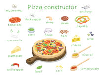 Vector равновеликий комплект ингридиентов для того чтобы построить изготовленную на заказ вкусную пиццу Стоковое фото RF