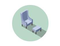 Vector равновеликое голубое винтажное кресло, плоский элемент дизайна интерьера 3d Стоковое Изображение RF