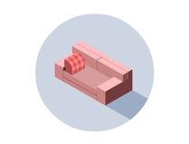 Vector равновеликое розовое кресло места софы, плоский элемент дизайна интерьера 3d Стоковые Изображения RF