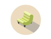 Vector равновеликое современное зеленое кресло, плоский элемент дизайна интерьера 3d Стоковая Фотография