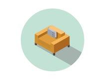 Vector равновеликое современное оранжевое удобное кресло, элемент дизайна интерьера Стоковая Фотография RF