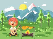 Vector разведчик мальчика ребенка персонажа из мультфильма иллюстрации жаря мясо на открытом огне и спойте песни, гитару игры на  бесплатная иллюстрация