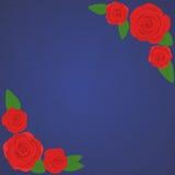 Vector рамка красивых красных роз на предпосылке военно-морского флота градиента с прозрачным голубым силуэтом роз Стоковое Фото