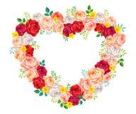 Vector рамка роз флористическая для wedding карточки приглашения, декоративного элемента Стоковая Фотография RF