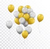 Vector реалистическая группа в составе золото и серебряные воздушные шары на t иллюстрация вектора