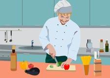 Vector реалистическая иллюстрация кашевара в кухне иллюстрация вектора