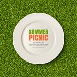 Vector реалистическая иллюстрация 3d белой плиты на лужайке зеленой травы Пикник в парке Знамя, шаблон дизайна плаката бесплатная иллюстрация