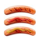 Vector реалистическая иллюстрация 3d зажаренной сосиски с кетчуп и мустардом, изолированная на белой предпосылке бесплатная иллюстрация