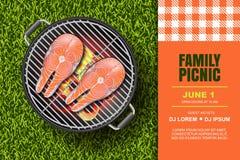 Vector реалистическая иллюстрация 3d красного salmon стейка на горячем гриле барбекю Пикник Bbq, знамя или шаблон дизайна плаката иллюстрация вектора