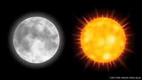 Vector реалистические луна и солнце на темной предпосылке Стоковые Фотографии RF