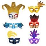 Vector реалистический комплект значка маски масленицы или masquerade Стоковая Фотография