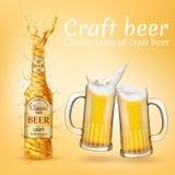 Vector реалистический плакат пива ремесла, рекламируя знамя бесплатная иллюстрация