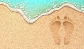Vector реалистический человеческий след ноги на песке пляжа моря Стоковые Изображения RF