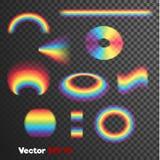 Vector реалистические сформированные 3d формы радуги на темной прозрачной предпосылке Стоковые Фото