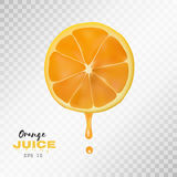 Vector реалистический отрезанный апельсин с падением сока предпосылка прозрачная Стоковые Изображения RF