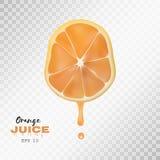 Vector реалистический отрезанный апельсин с падением сока предпосылка прозрачная Стоковая Фотография RF