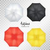 Vector реалистический парасоль, комплект навеса зонтика дождя круглая насмешка вверх Стоковое Фото