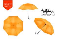 Vector реалистический парасоль, комплект навеса зонтика дождя круглая насмешка вверх Стоковые Фотографии RF